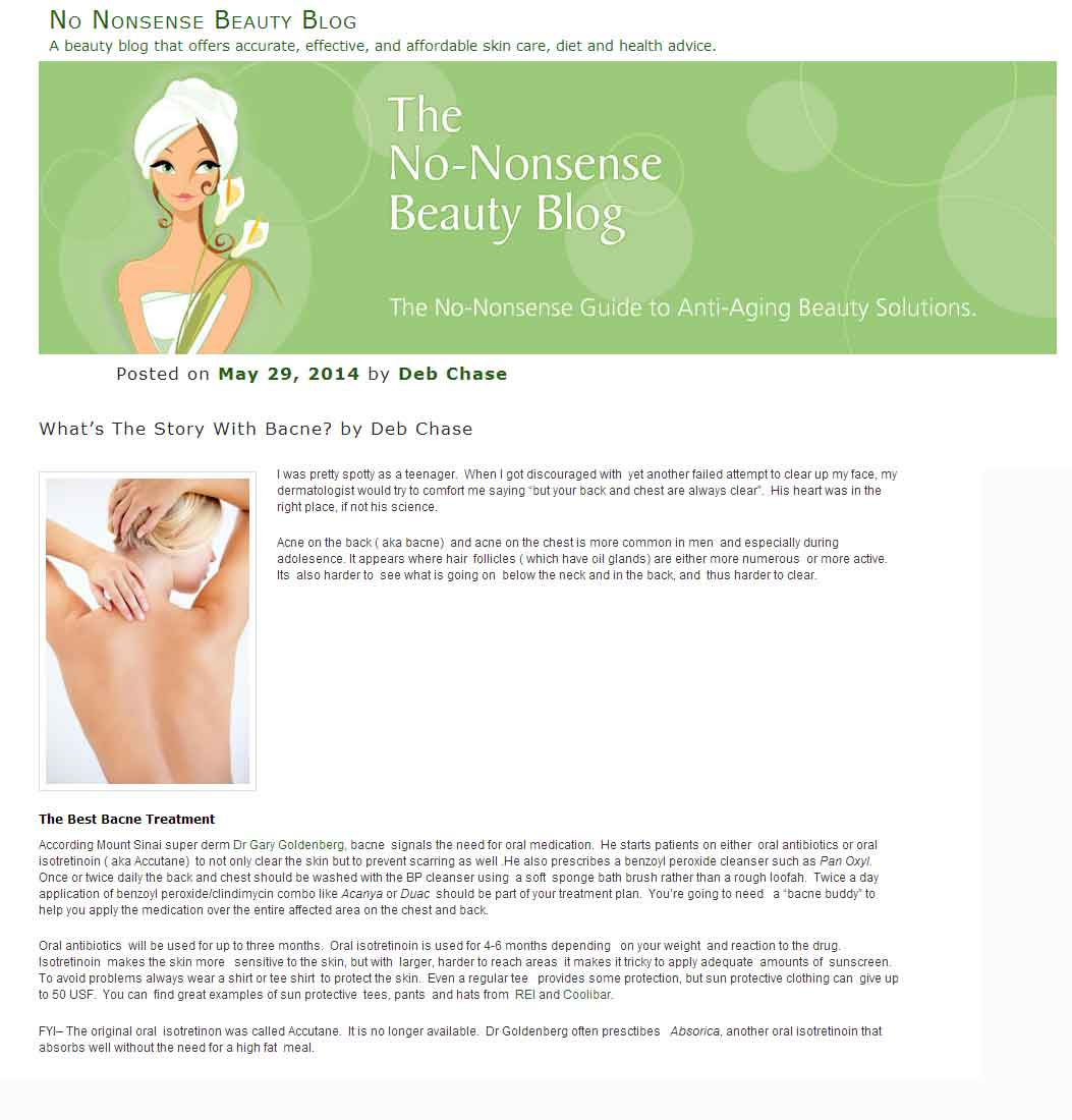 No-Nonsense Beauty Blog- Dr. Goldenberg gives his advice on preventing backne
