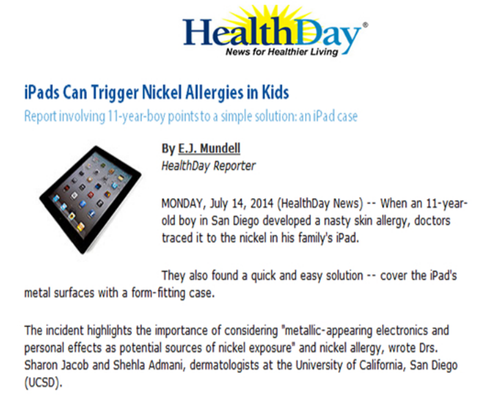 HealthDay-Find out how iPads can cause nickel allergies in kids