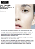 Yahoo Beauty - Dr. Goldenberg is quoted in - Can Your Skin Build Resistance to Products?