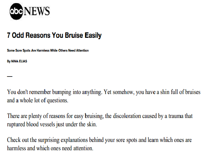 ABC News - Dr. Gary Goldenberg tells us the 7 reasons we may bruise easily.